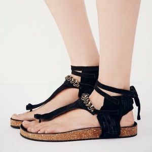 Free People Collins Black Suede Brass Ring Sandals